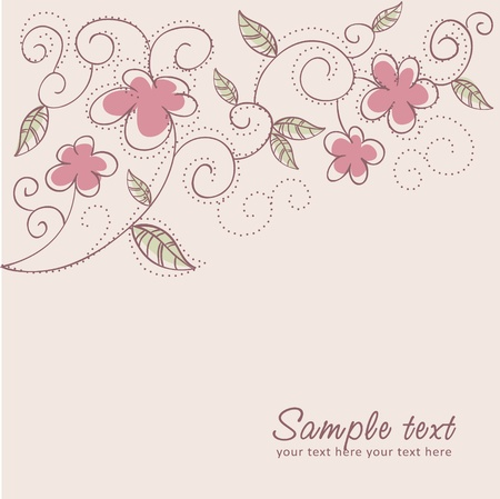 ornate swirls: Floral twirl postcard with flowers, leaves, dots, swirls and curves