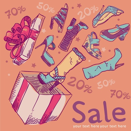 Cute sale postcard with shoes flowing out of the box Vector