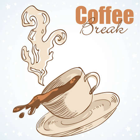 Tasty coffee cup greeting card with hearts and love Vector