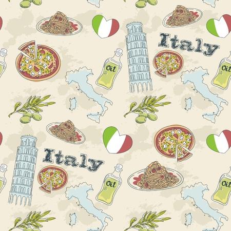 bandera italia: Italia viaje grunge seamless con la comida nacional italiana, lugares de interés, mapa y la bandera