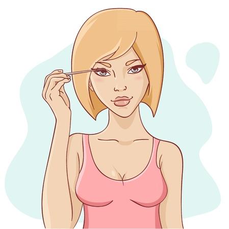 visage: Atractiva mujer joven y sonriente con el pelo corto de aplicar el rimel de bella maquillaje