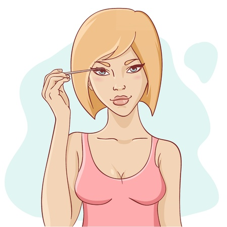 Attractive smiling young woman with short hair applying mascara for beautiful make-up Vector