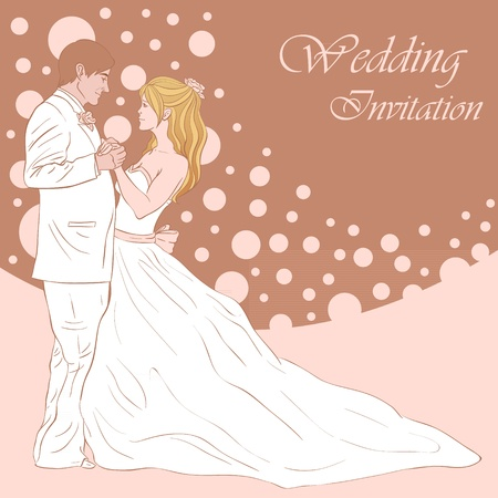Bride and groom wedding invitation card on a lovely floral background