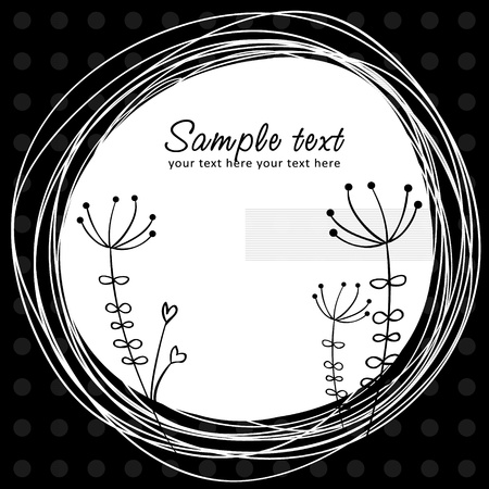 Cute sketch flower retro postcard with circle and polka dot on the background Stock Vector - 12811646