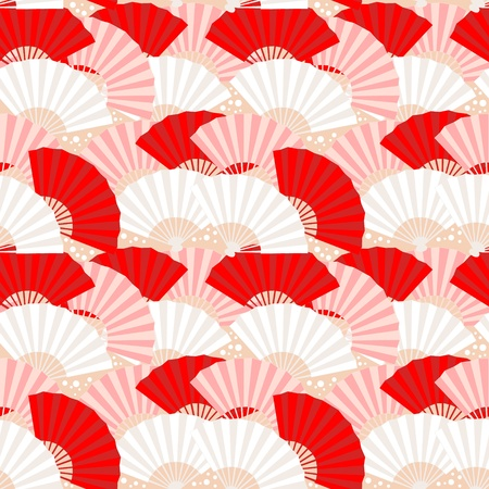 Cute japanese fan colorful seamless pattern Stock Vector - 12811647
