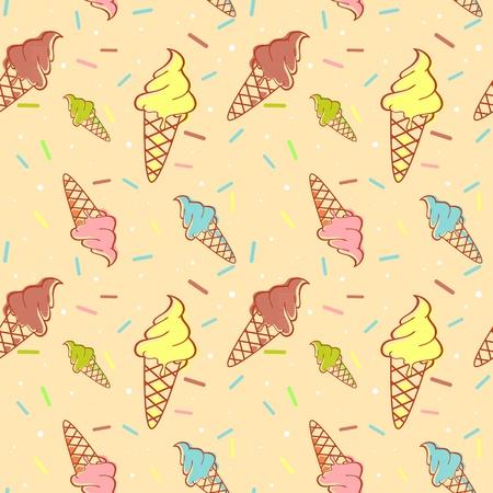 Colorful melting ice-cream seamless pattern confetti Vector