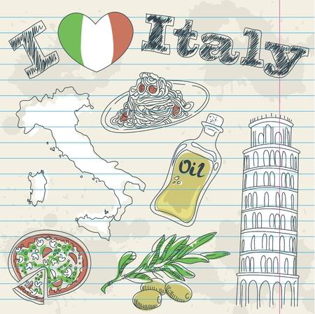 italien flagge: Italien Reise-Grunge-Karte mit nationalen italienische K�che, Sehensw�rdigkeiten, Karte und Flagge