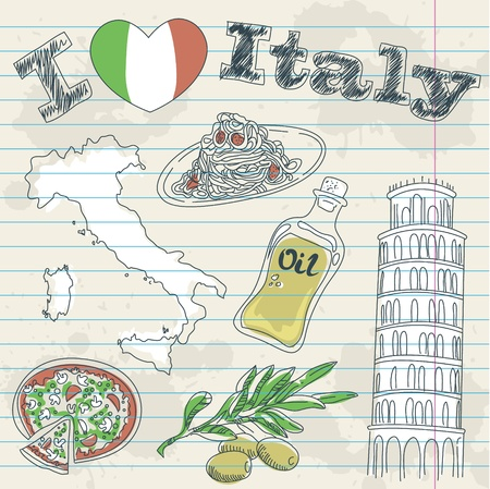 Italy travel grunge card with national italian food, sights, map and flag Vector Illustration