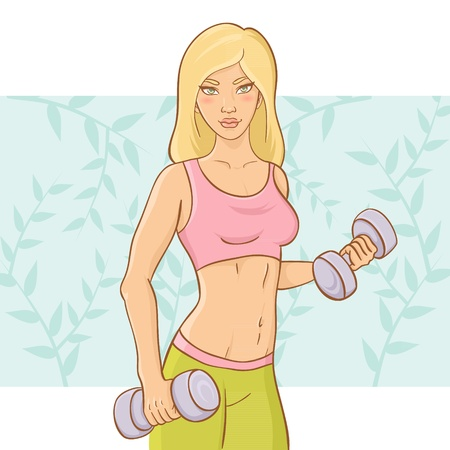 Sporty beautiful girl doing a fitness workout with dumb-bell weights on a floral background Vector