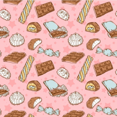 candy bar: Vintage seamless texture with sweets, candies, chocolate bars and marshmallow on stars and dots background Illustration