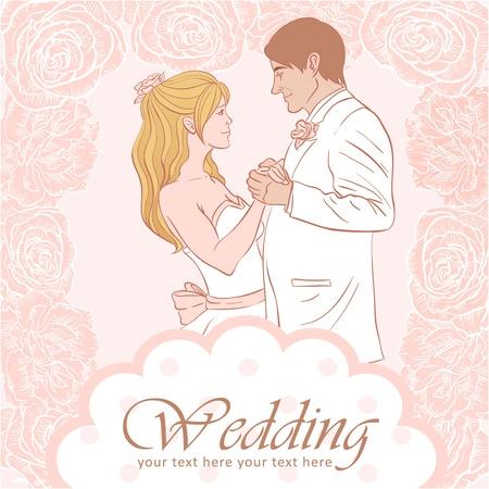 花嫁および新郎結婚式の招待カード素敵な花の背景に
