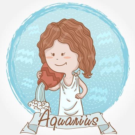 flowing water: Ilustraci�n de signo zodiacal Acuario en el estilo de dibujos animados lindo como una ni�a sosteniendo una jarra con agua que fluye