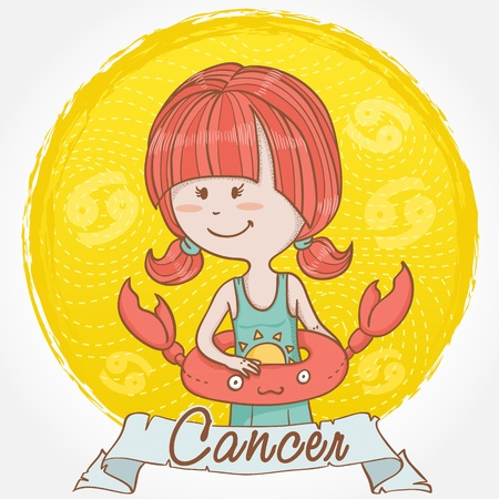 zodiacal symbol: Illustration of Cancer zodiac sign in cute cartoon style as a girl in swimming suite with crab lifebuoy for swimming