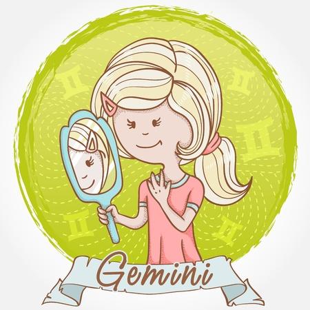 signes du zodiaque: Illustration de signe du zodiaque G�meaux dans le style mignon de bande dessin�e comme une fille avec un miroir et les jumeaux de r�flexion