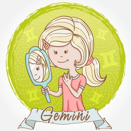 zodiacal: Illustration of Gemini zodiac sign in cute cartoon style as a girl with a mirror and reflection twins