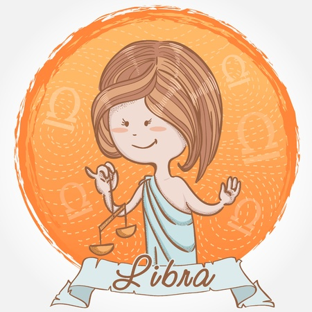 Illustration of Libra zodiac sign in cute cartoon style as a girl in ancient greek clothes and holding scales