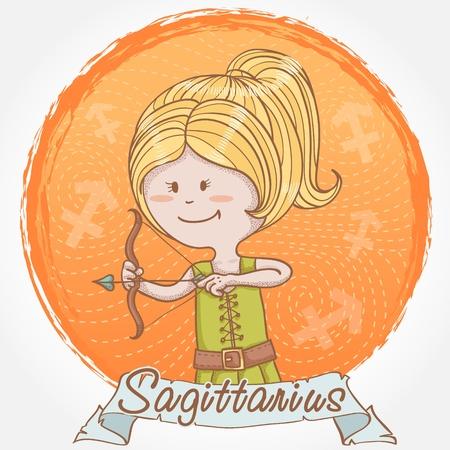 sagitario: Ilustración de signo zodiacal de Sagitario en el estilo de dibujos animados lindo como una niña de arquero con arco y flecha