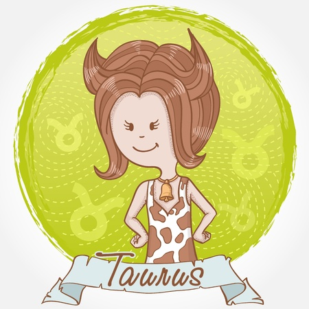 Illustration of Taurus zodiac sign in cute cartoon style as a girl dressed like a cow with spots, horns and bell Vector