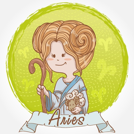 Illustration of Aries zodiac sign in cute cartoon style as a girl holding a sheep and dressed like shepherd Vector