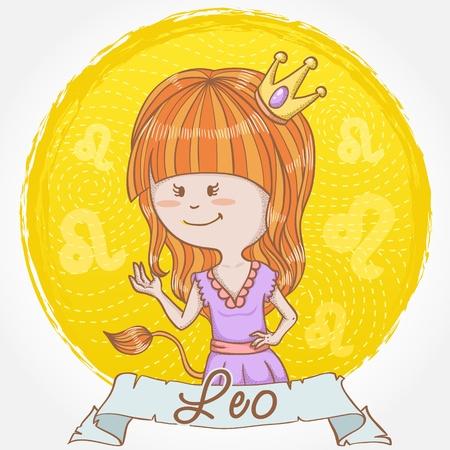 signes du zodiaque: Illustration de signe du zodiaque Lion dans le style mignon de bande dessin�e comme une jeune fille habill�e comme une reine avec une couronne et un lion la queue