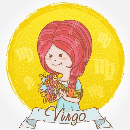 virgo zodiac sign: Illustration of Virgo zodiac sign in cute cartoon style as a feminine girl with braid hair and holding a bouquet of flowers �