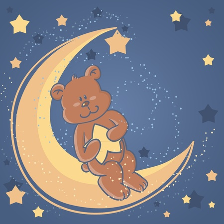 blue blanket: Teddy bear sitting on a moon and holding a star for sweet dreams wishes card