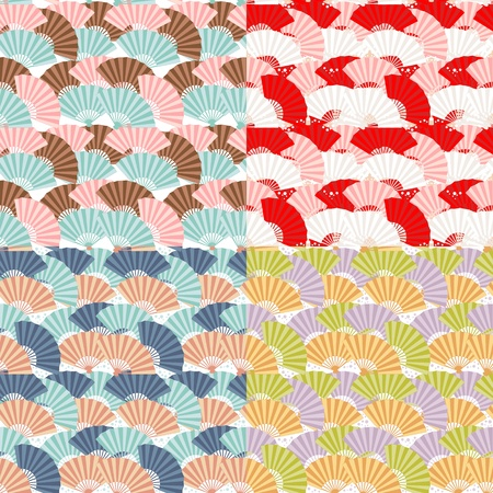 Cute japanese fan colorful seamless pattern Stock Vector - 13239123