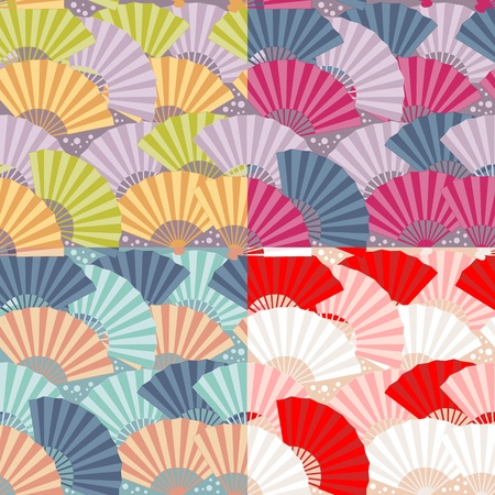 Cute japanese fan colorful seamless pattern Vector