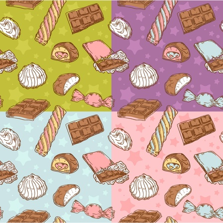 Vintage seamless texture with sweets, candies, chocolate bars and marshmallow on stars and dots background Illustration