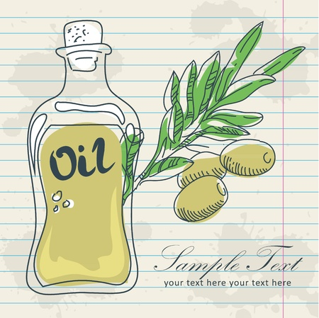Olive oil in a bottle and a branch of olives with leaves hand drawn vintage image on a notepaper grunge background Stock Vector - 13239116