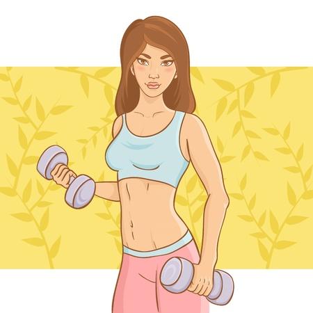levantando pesas: Deportivo chica hermosa haciendo un entrenamiento de fitness con pesas en forma de pesas en un fondo floral