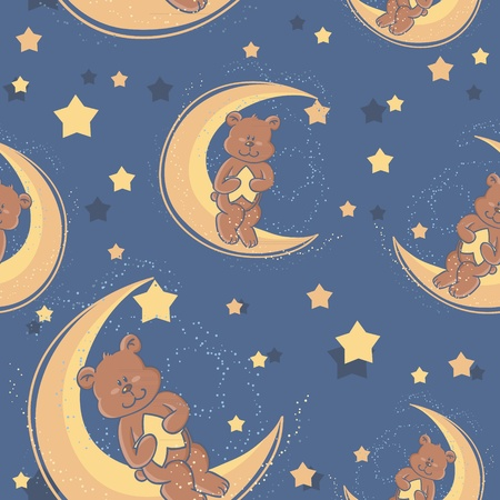 bedtime: Teddy bear sitting on a moon and holding a star for sweet dreams seamless textile pattern