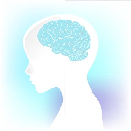 enfermedades mentales: Silueta humana con un perfil anatómico del cerebro en la cabeza