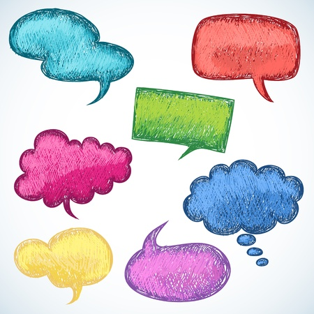 burbujas de pensamiento: Globos de colores de voz en el estilo de dibujo dibujo