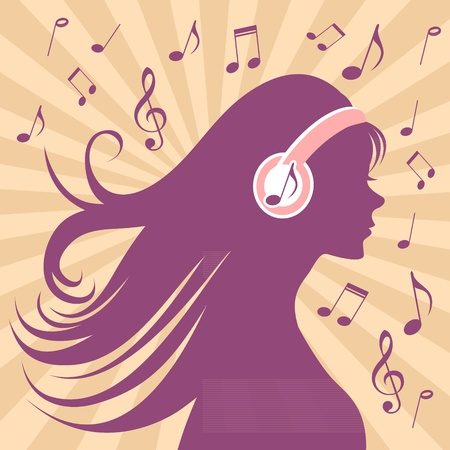 music listening: Girl silhouette with headphones, long hair and music notes