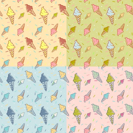 waffle ice cream: Colorful melting ice-cream seamless pattern confetti