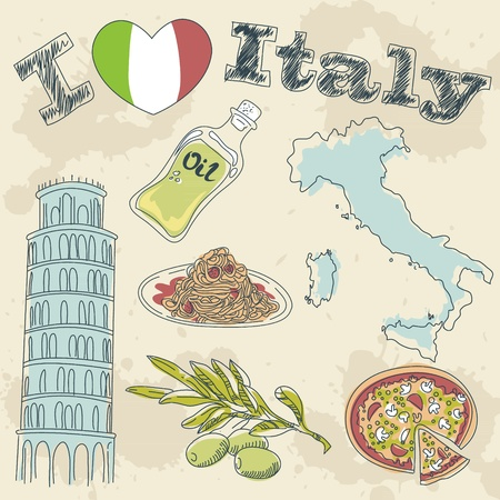 Italy travel grunge card with national italian food, sights, map and flag