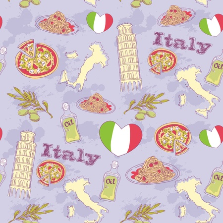 Italy travel grunge seamless pattern with national italian food, sights, map and flag Vector