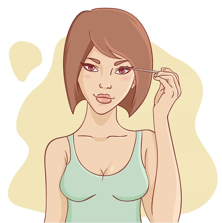 Atractiva mujer joven y sonriente con el pelo corto de aplicar el rimel de bella maquillaje
