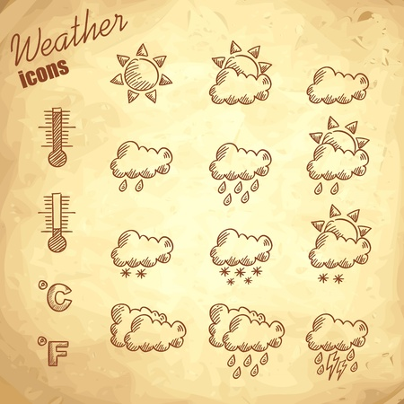 Retro weather icons hand drawn on grunge vintage background Stock Vector - 13288513