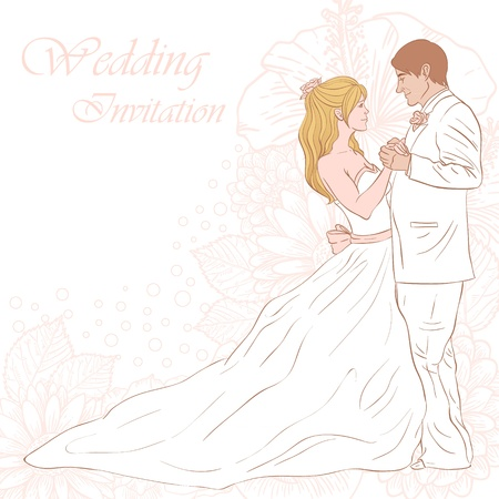 newlywed: Bride and groom wedding invitation card on a lovely floral background