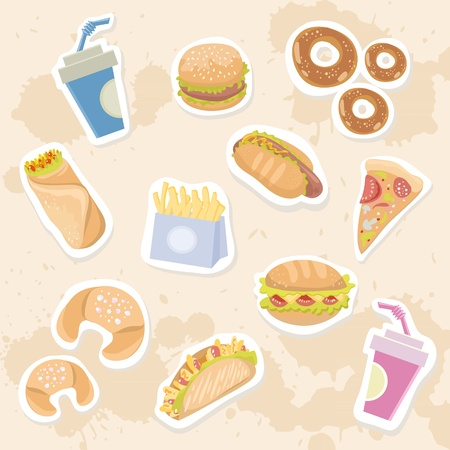 Fastfood stickers set with delicious dish on grungy background Vector