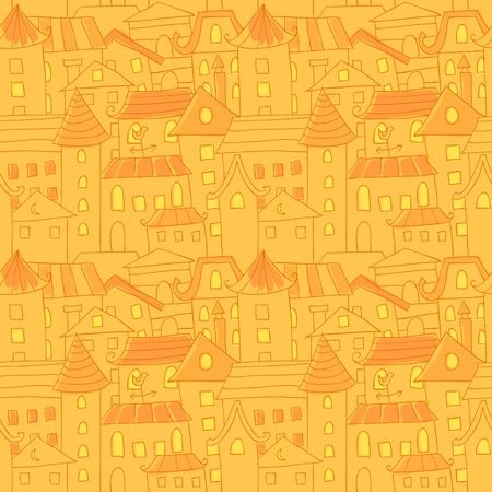 Retro style hand drawn city houses seamless colorful pattern Vector
