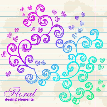 Floral twirl postcard with flowers, leaves, hearts, swirls and curves Vector