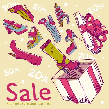 Cute sale postcard with shoes flowing out of the box