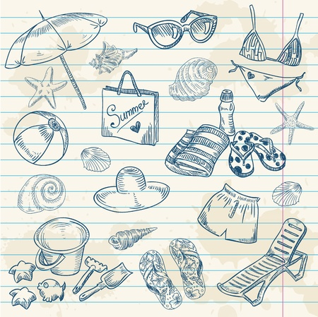 Hand drawn retro icons summer beach set on a grunge paper background Illustration