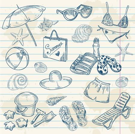 etoile de mer: Main dessin�e plage r�tro �t� ic�nes sur un fond de papier grunge Illustration