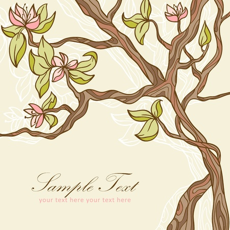 Beautiful blooming tree with leaves and flowers romantic postcard Vector