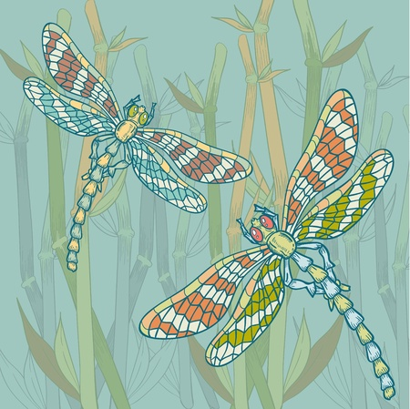 Dragonfly on the water plant background doodle style Vector