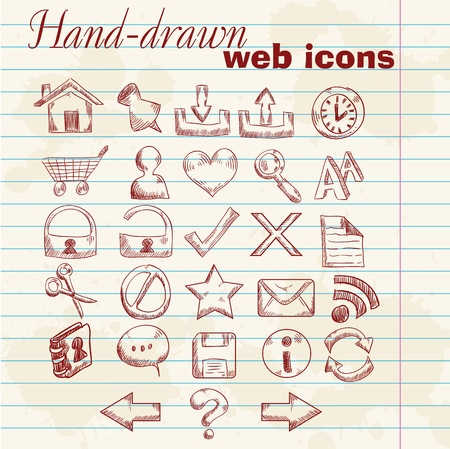 Hand drawn computer web icons on a grunge sheet paper background Vector